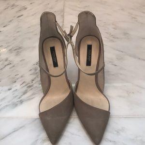 Zara gray suede pointy toe heel